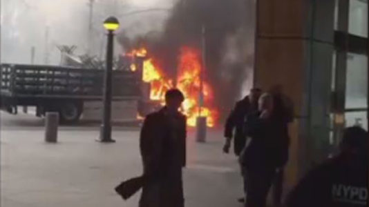 NYPD truck bursts into flames in heart of Manhattan