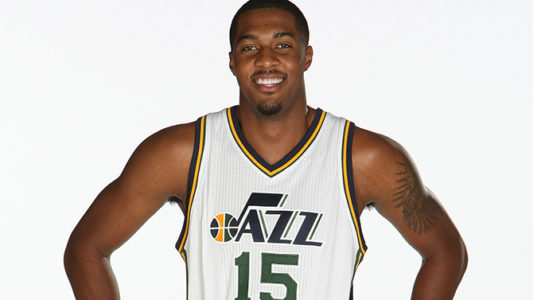 SALT LAKE CITY, UT - SEPTEMBER 29:  Derrick Favors #15 of the Utah Jazz poses for a photo during the 2014 NBA Jazz Media Day at Zions Basketball Center on September 29, 2014 in Salt Lake City, Utah. NOTE TO USER: User expressly acknowledges and agrees that, by downloading and or using this Photograph, User is consenting to the terms and conditions of the Getty Images License Agreement. Mandatory Copyright Notice: Copyright 2012 NBAE (Photo by Melissa Majchrzak/NBAE via Getty Images)