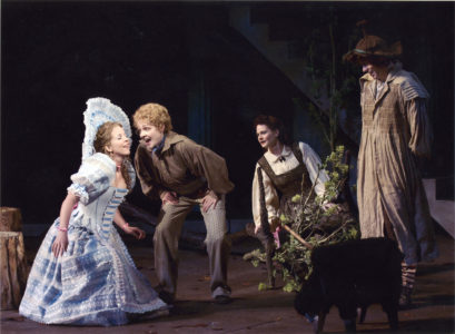 (L-R) Jennifer Stewart, Katie MacNichol,  Edelen McWilliams and Michael Wrynn in The Old Globe's 2004 Shakespeare Festival production of As You Like It, by William Shakespeare, directed by Karen Carpenter, playing in repertory in the Lowell Davies Festival Theatre July 9 through October 1. Photo by Craig Schwartz.