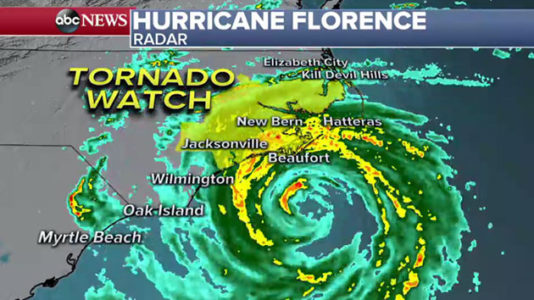 Hurricane Florence pummels North Carolina coast, knocking out power