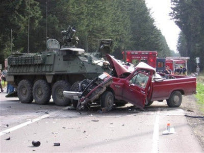 This picture provided by the Washington State Patrol shows an Army Stryker vehicle after a collision with a pickup truck on a public road near Spanaway, Wash., near Fort Lewis, Wash. The pickup truck driver was killed. (AP Photo/Washington State Patrol)