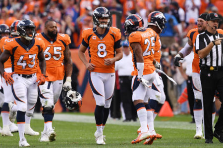 DENVER, CO - SEPTEMBER 16: Brandon McManus (8) and Chris Harris (25) of the Denver Broncos celebrate a game-winning field goal during the fourth quarter. The Denver Broncos hosted the Oakland Raiders at Broncos Stadium at Mile High in Denver, Colorado on Sunday, September 16, 2018. (Photo by Joe Amon/The Denver Post)