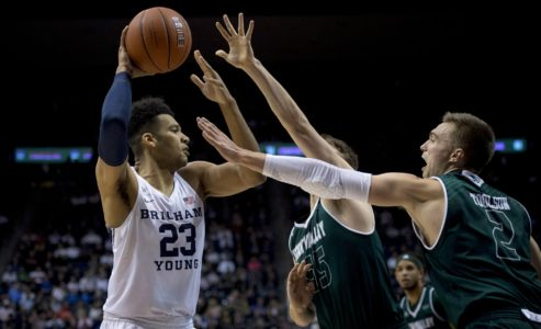 Haws hits flurry of 3s, BYU defeats Utah Valley 75-65