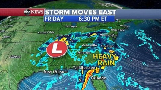 Storm crossing country moves into Southeast with heavy rain, flooding