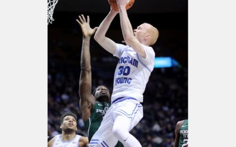 Haws scores 30 points, leads BYU over Portland State 85-66