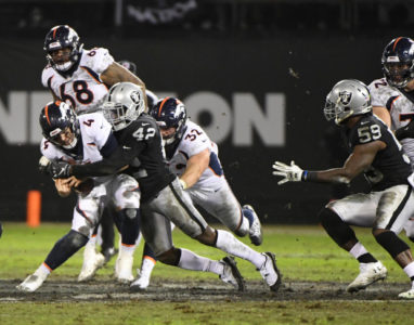 OAKLAND, CO - DECEMBER 24: Denver Broncos quarterback Case Keenum (4) gets sacked by Oakland Raiders free safety Karl Joseph (42)  in the second quarter at the Oakland Alameda Coliseum December 24, 2018. (Photo by Andy Cross/The Denver Post)