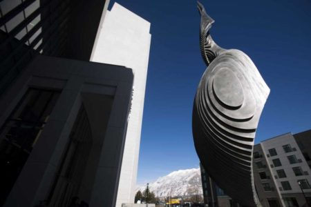 Spiral sculpture graces front of new courthouse in Provo